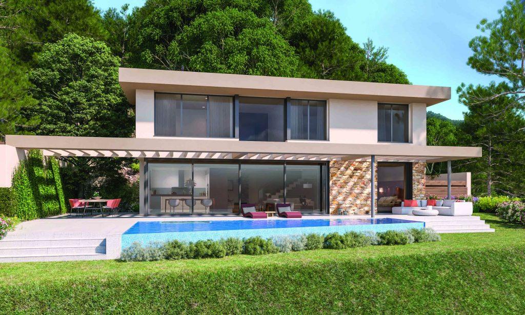 Promoción Albacsari Villas Begur Fase 1, cinco modernas villas de lujo unifamiliares en urabnización privada a 15 minutos de Begur